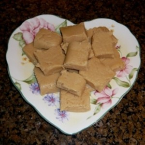Peanut Butter Fudge on Heart Shape plate