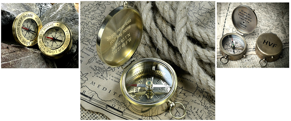 Personalized Engraved Brass Compass